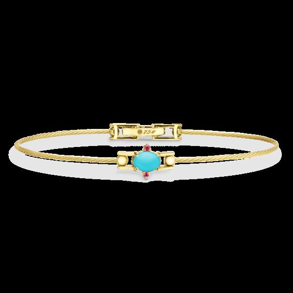 Unity Wire Bracelet With Ruby Oval Cabochon