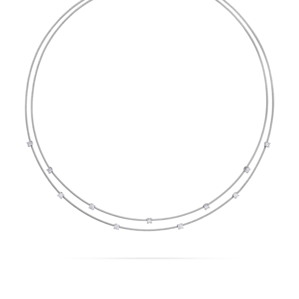 Double Unity Necklace With 11 Diamonds Small