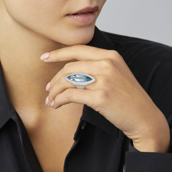 Aqua Navette Diamond Nimbus Ring