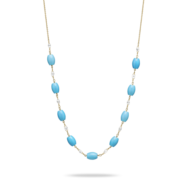 Diamond Briolette & Turquoise Necklace