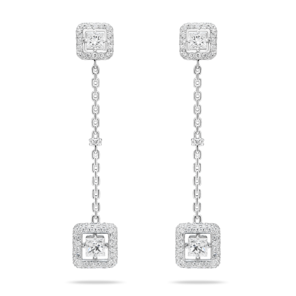 Diamond Carré Drop Earring
