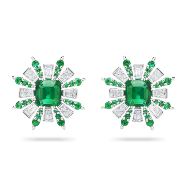 Retro Burst Emerald Earring