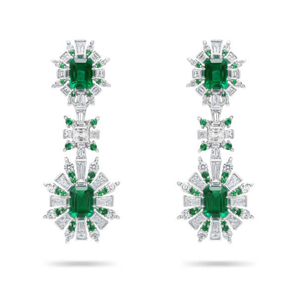 Retro Burst Emerald Earring