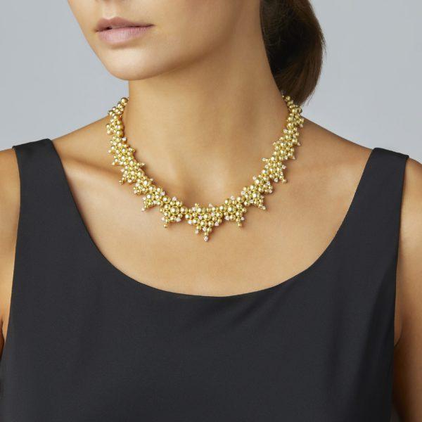 Cascading Golden Lagrange Diamond Necklace