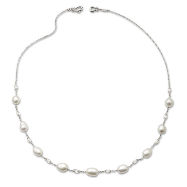 Diamond Briolette & Pearl Necklace