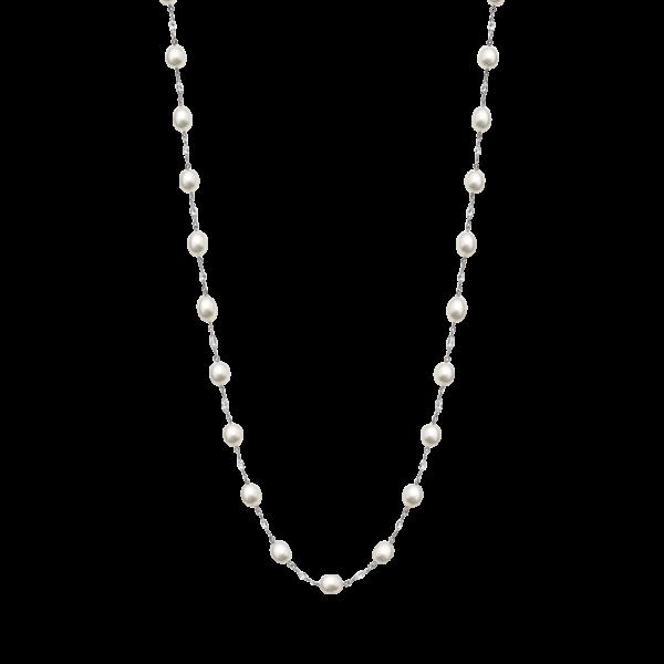 Diamond Briolette & Pearl Necklace