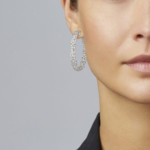 Mixed Diamond Hoop Earring