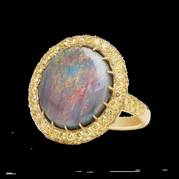 Opal & Diamond Aureole Ring
