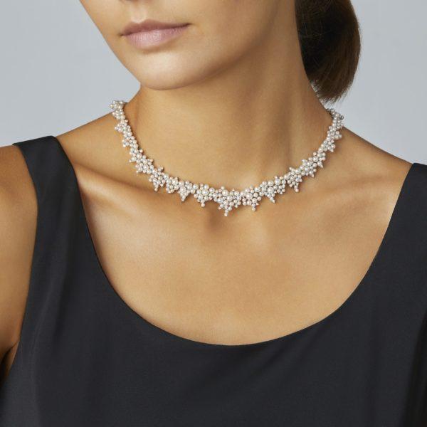 Cascading Lagrange Pearl & Diamond Necklace
