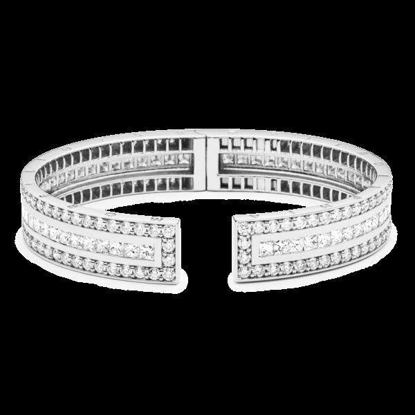 Rectangular Pinpoint Diamond And Sapphire Cuff