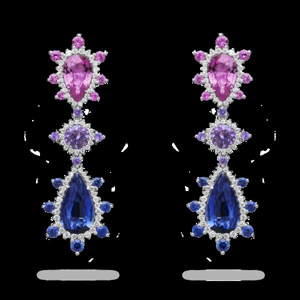 Sapphire Triptych Drop Earring