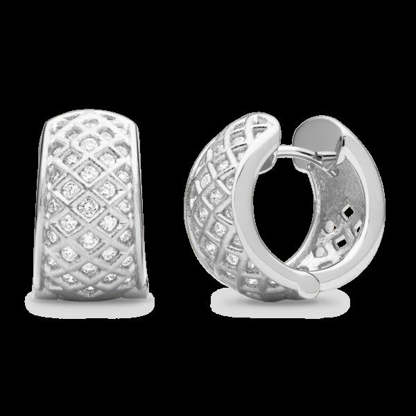 Spiral Mesh Diamond Snap Hoop Earring