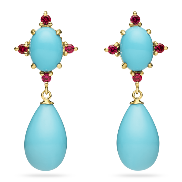Turquoise Cabochon & Drop Earring